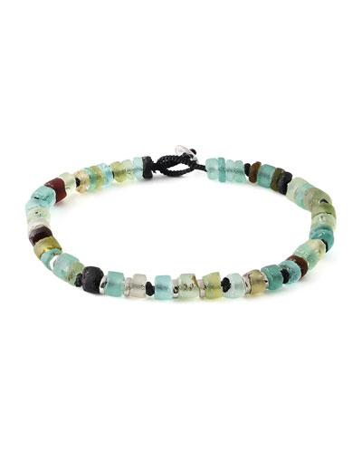 Men's Roman Glass Beaded Bracelet, Large