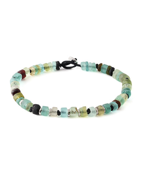 Men's Roman Glass Beaded Bracelet, Large