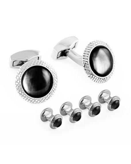 Rhodium-Plated Cuff Links & Stud Set, Black