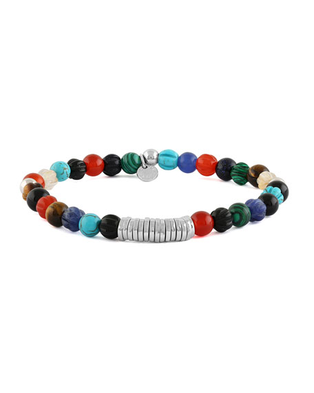 Men's Semiprecious Beaded Disc Bracelet, Medium