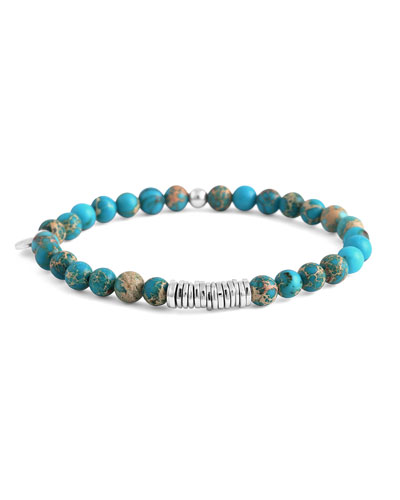 Men's Semiprecious Beaded Disc Bracelet, Turquoise, Large