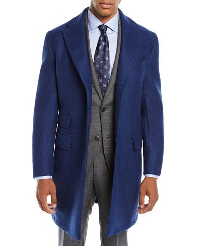 Men's Solid Wool Top Coat