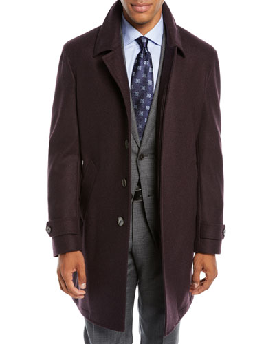 Men's Solid Wool Car Coat