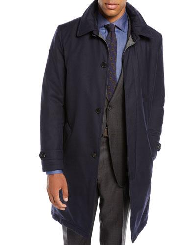 Men's Water-Resistant Raincoat in Wool