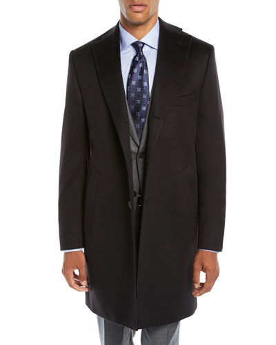 Men's Solid Cashmere Top Coat