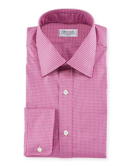 Charvet Pink Tonal Tattersall Dress Shirt