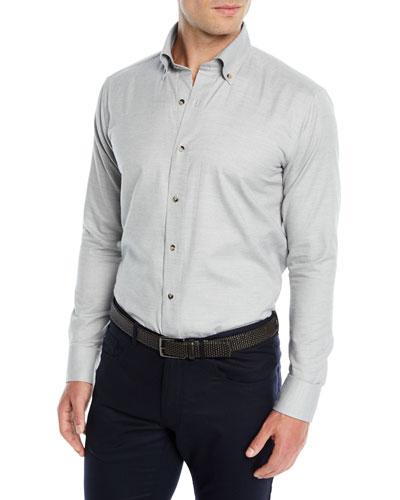 Men's Hamra Melange Cotton/Cashmere Sport Shirt