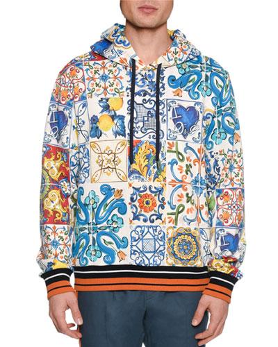 Men's Maiolica Tile-Print Pullover Hoodie Sweatshirt