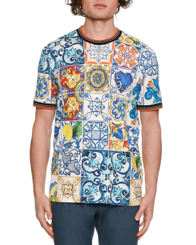 668a575c Dolce & Gabbana Men's Tile Print Crewneck T-Shirt | Neiman Marcus