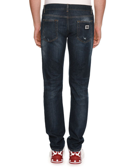 Men's Distressed Straight-Leg Jeans