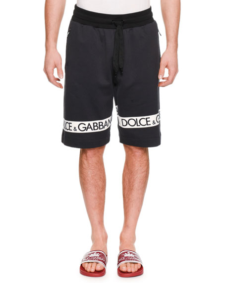 Dolce & Gabbana Men's Logo-Tape Sweat Shorts