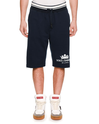 Men's Logo Drawstring Cotton Sweat Shorts w/ Side Zipper