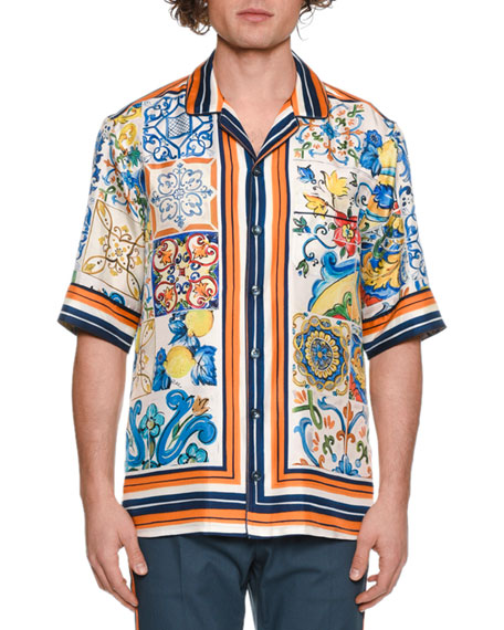 Dolce & Gabbana Men's Mailoica Graphic Short-Sleeve Silk