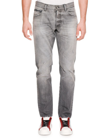 Men's Distressed Straight-Leg Jeans