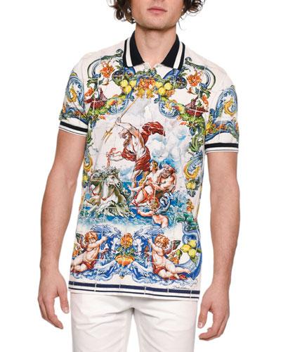 Men's Maiolica Tile-Print Polo Shirt