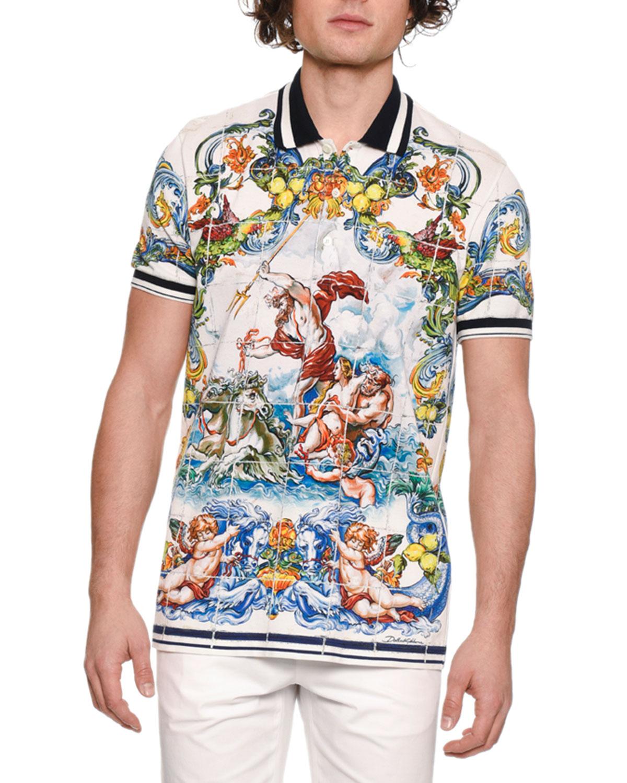 b9da1e53 Dolce & Gabbana Men's Maiolica Tile-Print Polo Shirt   Neiman Marcus