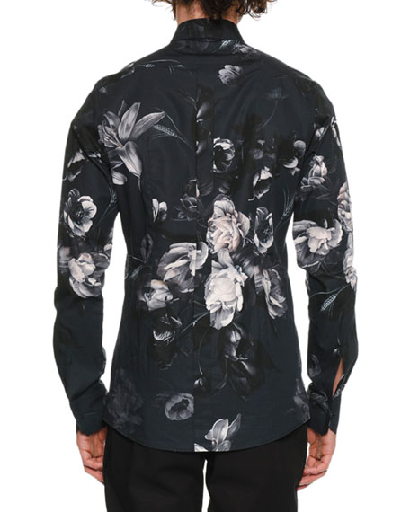 Men's Button-Down Long-Sleeve Floral-Print Shirt