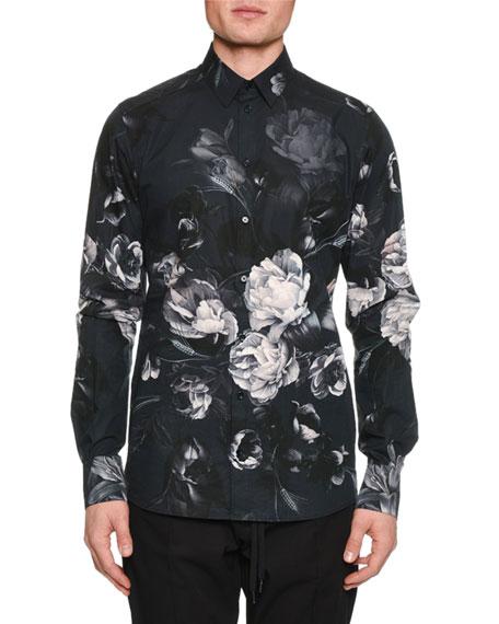Men'S Button-Down Long-Sleeve Floral-Print Shirt in Black