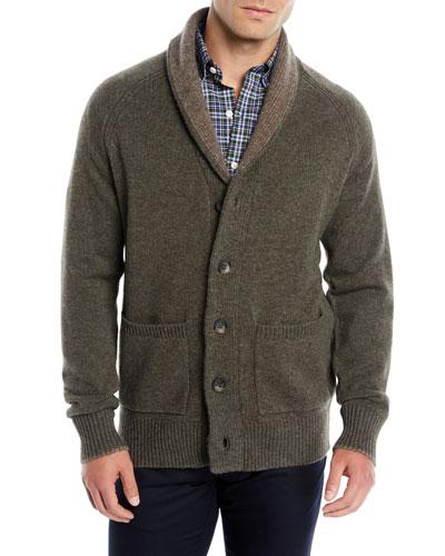 Men's Shawl-Collar Wool-Yak Cardigan