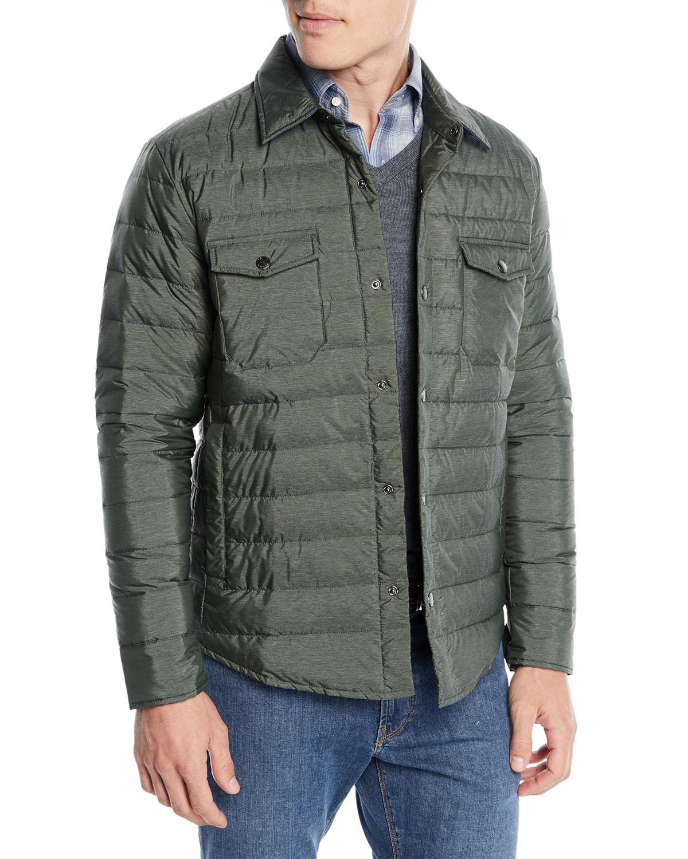 Peter Millar Mens Crown Elite Quilted Shirt Jacket Neiman Marcus