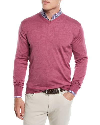 Men's Wool/Silk Pullover V-Neck Sweater