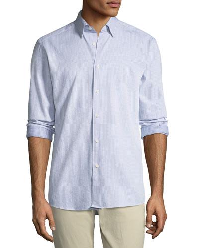 Men's Square-Print Sport Shirt, Dark Blue