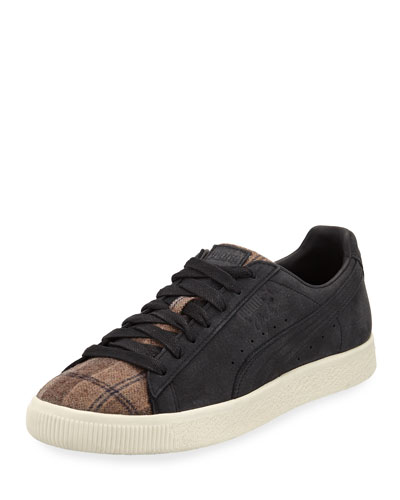 Men's Clyde Plaid/Suede Low-Top Sneakers