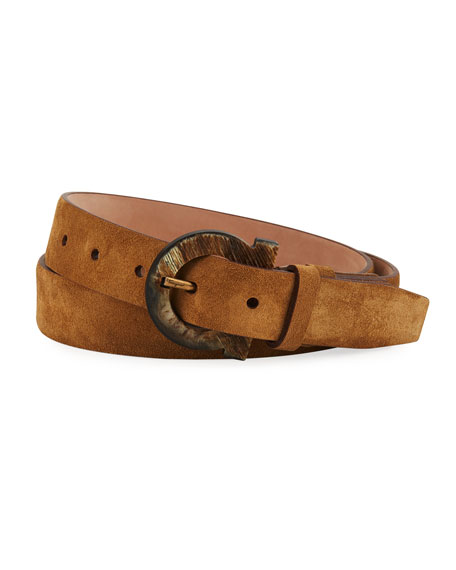 Men's Gancio Horn-Buckle Suede Belt