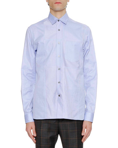 Men's Regular-Fit Sport Shirt with Asymmetric Front Cut