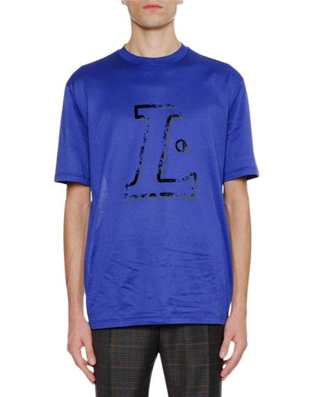 Lanvin Men's Flocked L Logo T-Shirt