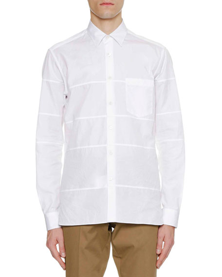 Men's Regular-Fit Sport Shirt with Horizontal Cuts
