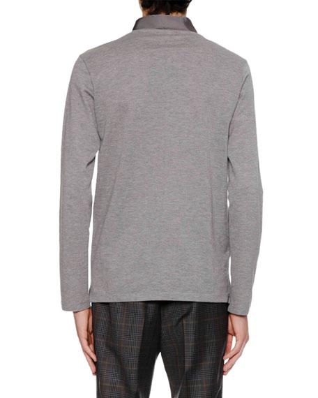 Men's Long-Sleeve Grosgrain-Collar Polo Shirt
