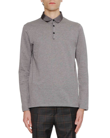 Lanvin Men's Long-Sleeve Grosgrain-Collar Polo Shirt