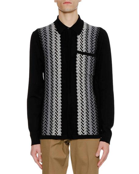 Men's Fading Chevron Jacquard Knit Wool Sweater Shirt