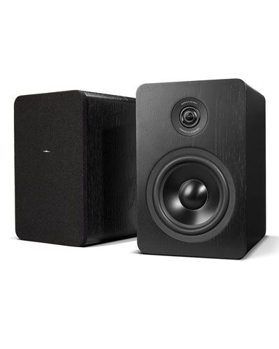 Wooden Bookshelf Speakers with Bluetooth (Set of Two), Black Finish