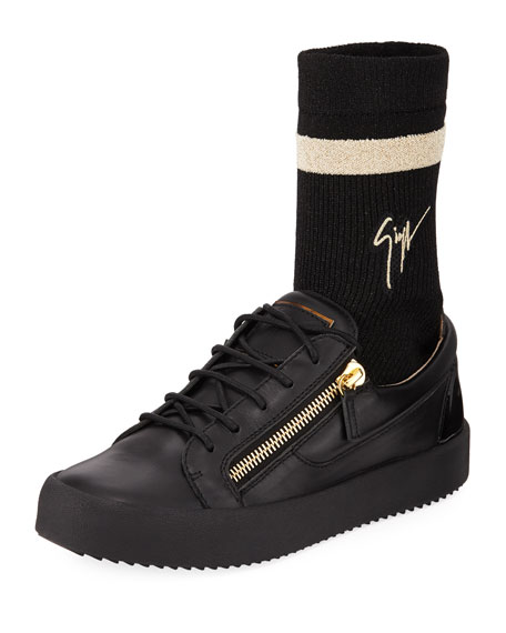 Giuseppe Zanotti Men's Double-Zip Low-Top Sock Sneakers