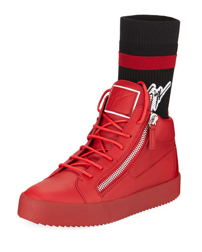 Men's Double-Zip High-Top Sock Sneakers