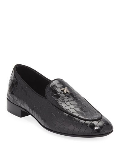 Men's Stamped Crocodile Leather Formal Loafer