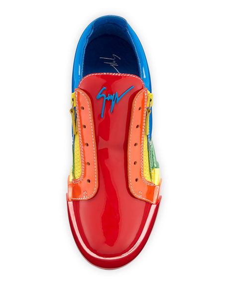 Men's Rainbow Patent Leather Low-Top Sneakers