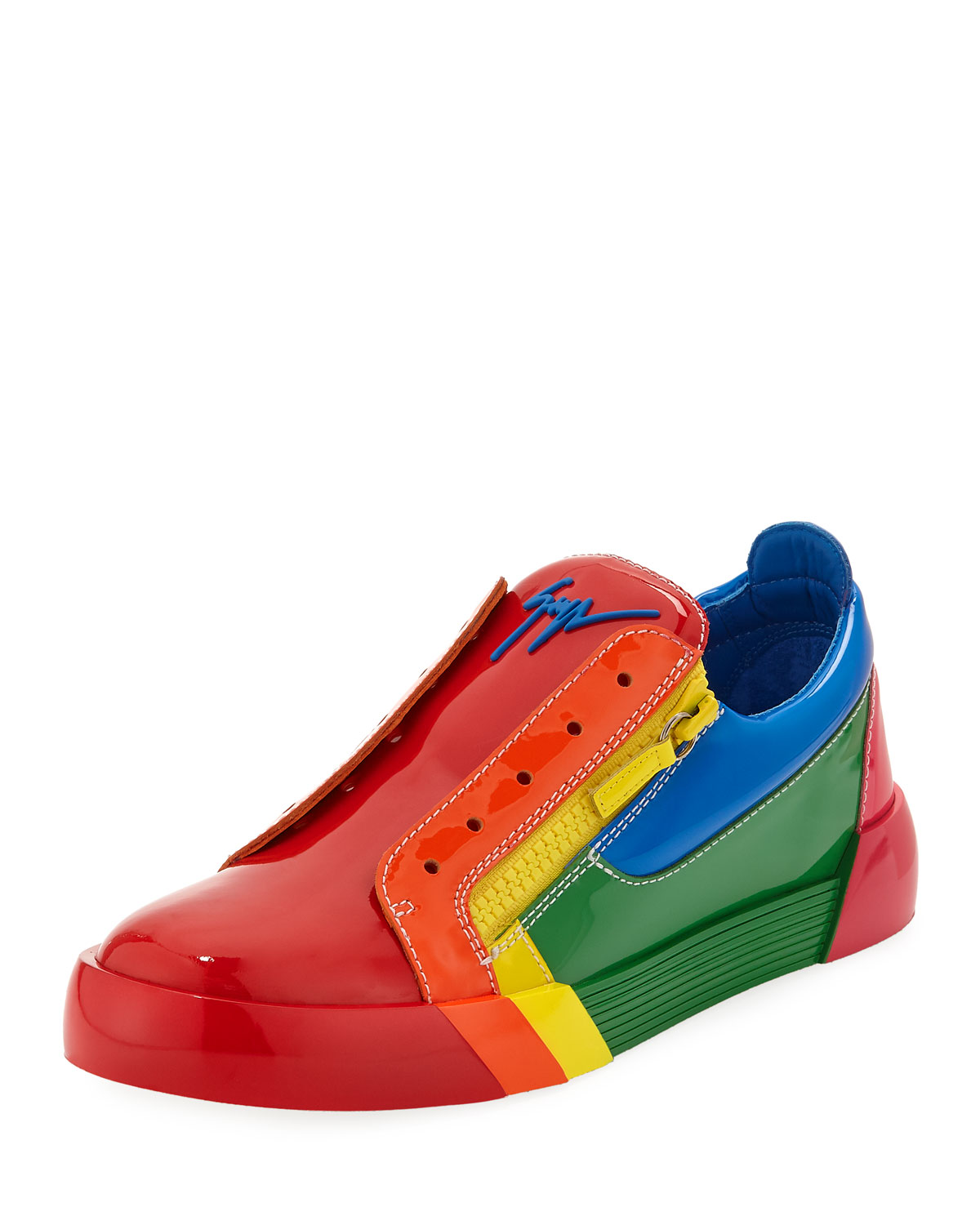 giuseppe zanotti men 39 s rainbow patent leather low top. Black Bedroom Furniture Sets. Home Design Ideas