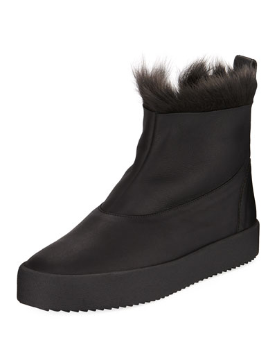 Men's Fur-Top Ankle Boots