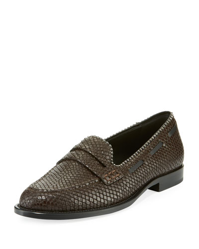 Men's Snake-Embossed Leather Penny Loafers