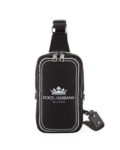Men's Logo Crown Nylon Crossbody Sling Backpack