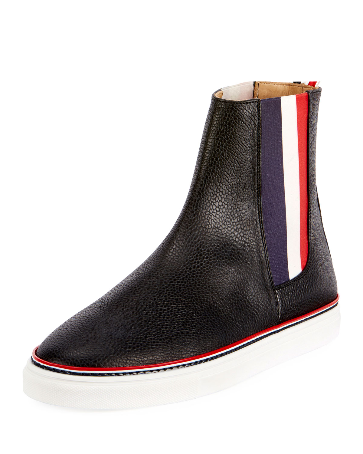 4b5bb42c3e1 Thom Browne Men s Chelsea Leather High-Top Sneakers with Stripes ...