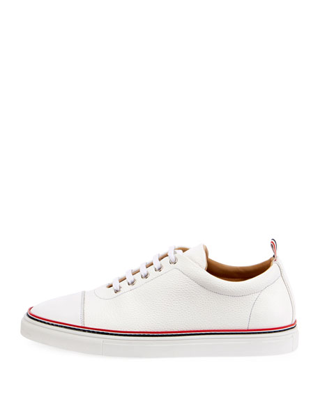 Men's Straight-Toe Leather Low-Top Sneakers