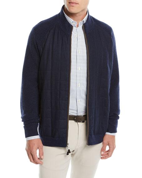 Men's Quilted Grid Zip-Front Sweater Jacket