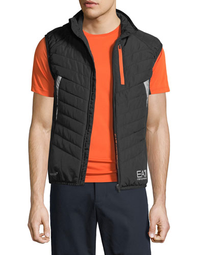 Men's EA7 Quilted Zip-Front Vest, Black