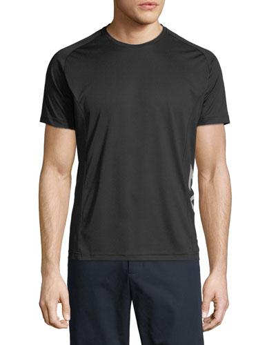 Men's EA7 Ventus Logo-Trim Wicking T-Shirt, Black