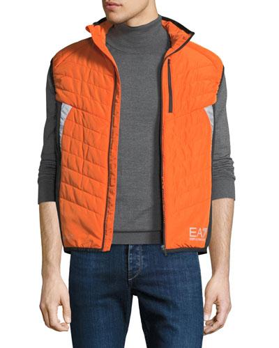 Men's EA7 Quilted Zip-Front Vest, Orange/Yellow