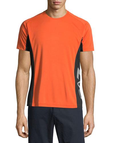 Men's EA7 Ventus Logo-Trim Wicking T-Shirt, Orange